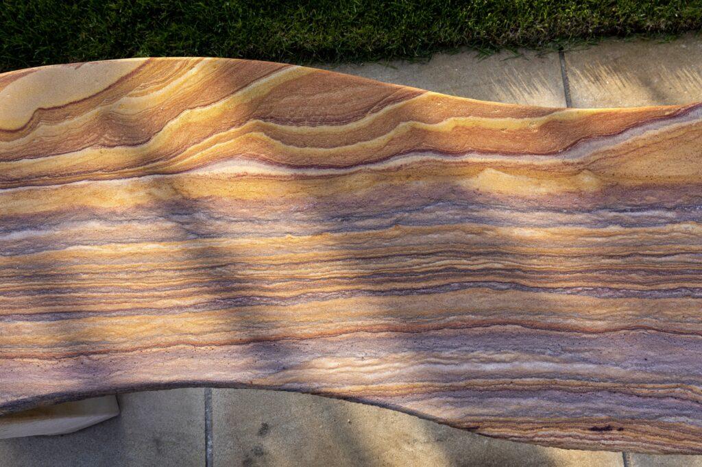 Jasper Rainbow Sandstone Curved Bench
