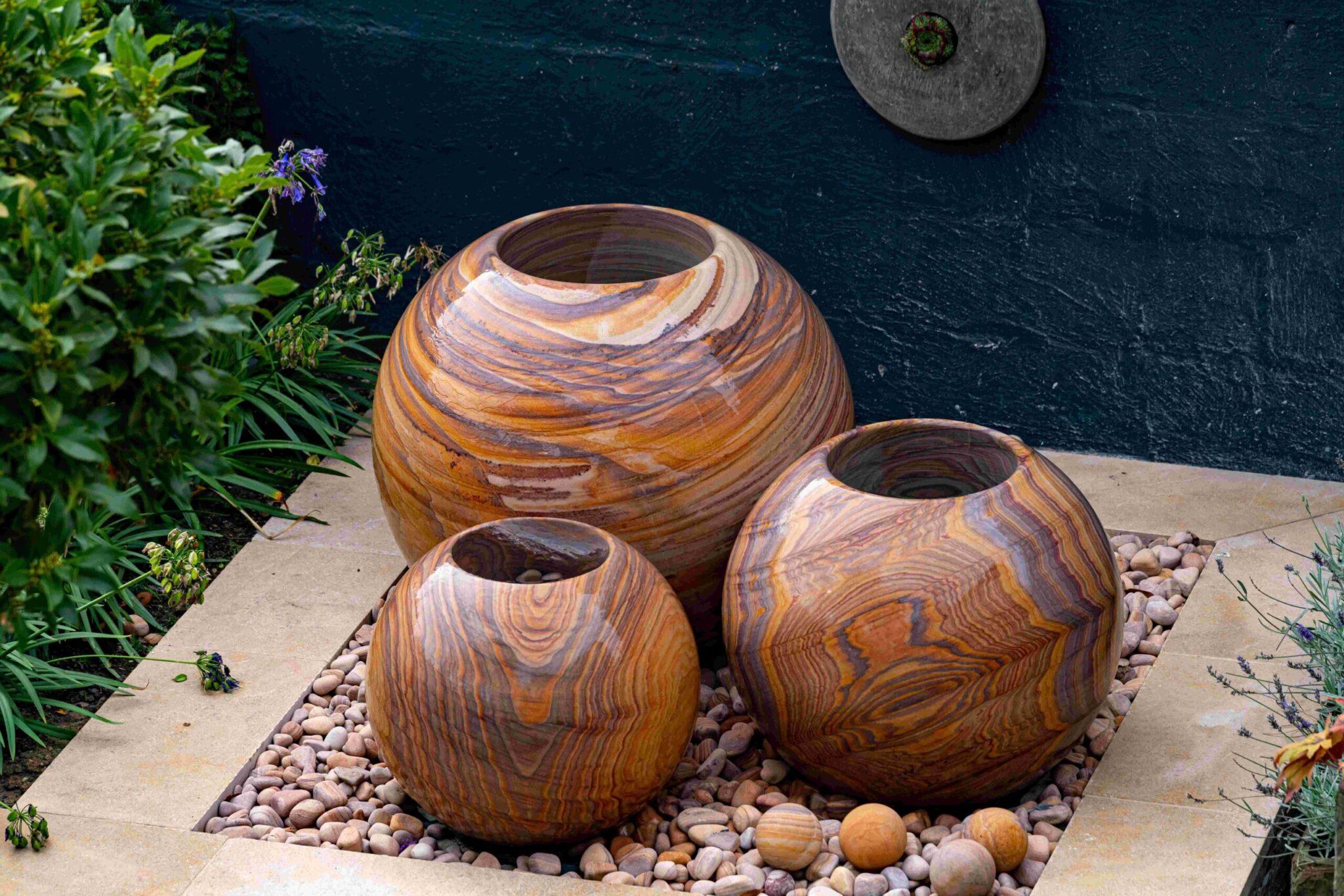 sandstone planter trio