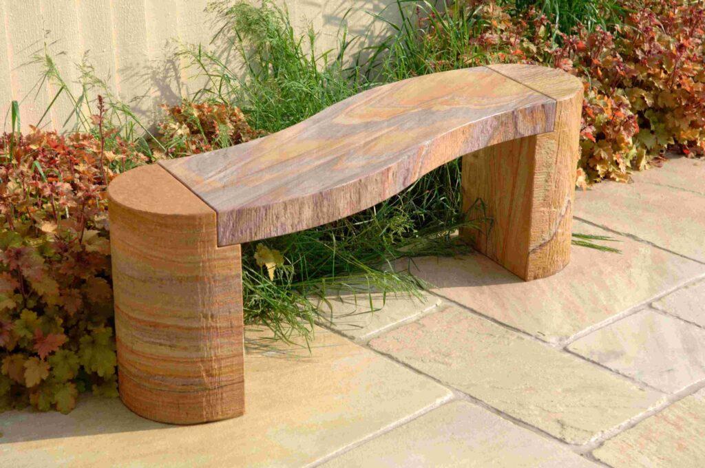 rainbow colour curved rainbow bench