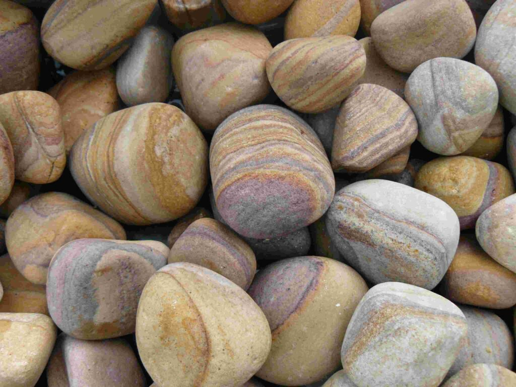 Decorative rainbow pebbles to accessorise your water features and gabions