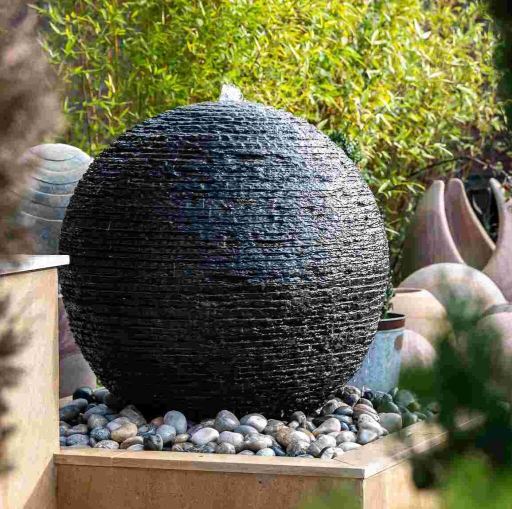 slate layered water feature
