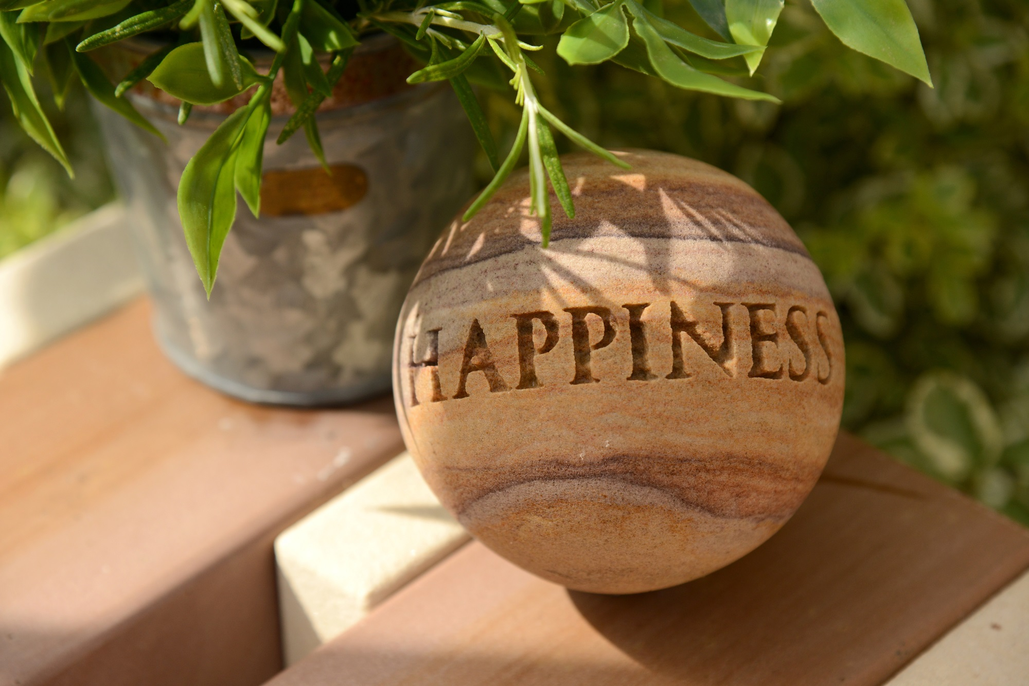 happiness engraved sphere