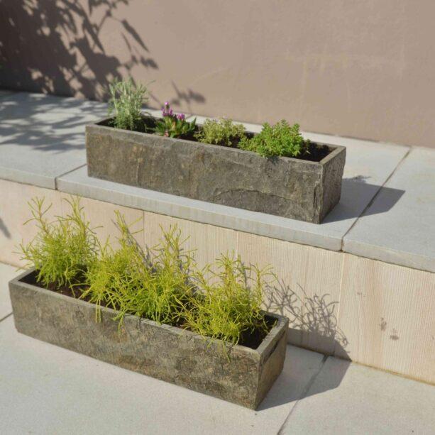 Surmi Small Natural Slate Trough - Set Of Two