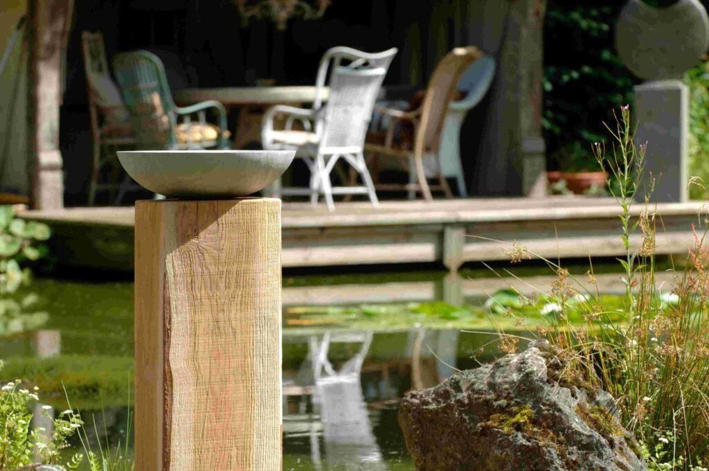 Acorn Grey Sandstone Birdbath on Weathered Oak Wooden Plinth
