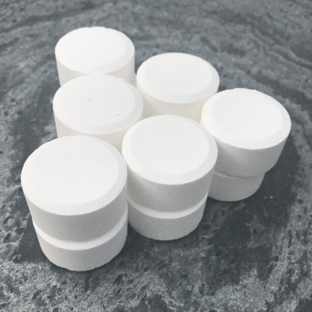stack of chlorine tablets