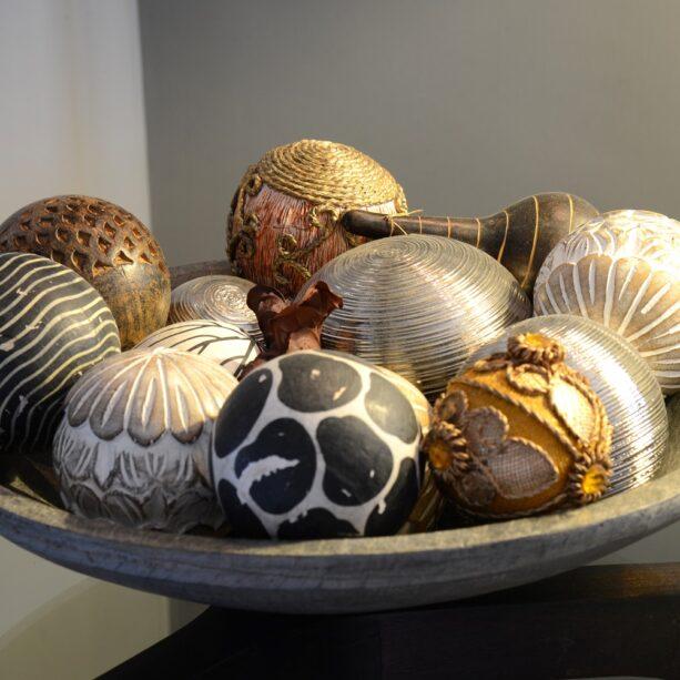 baubles in sandstone bowl