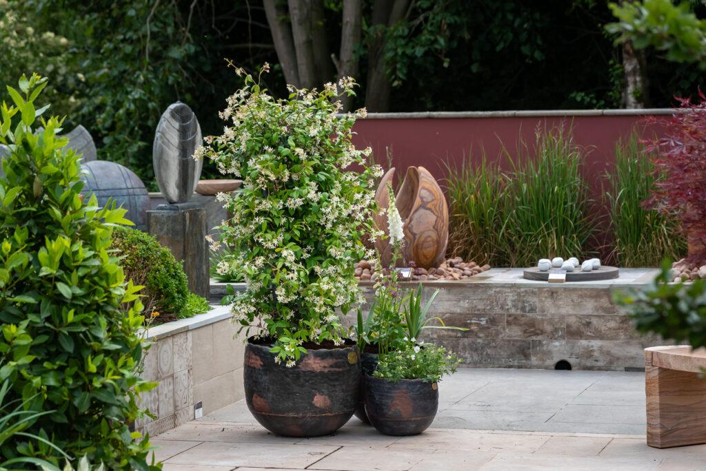 Copper Beech Trio of vintage planters
