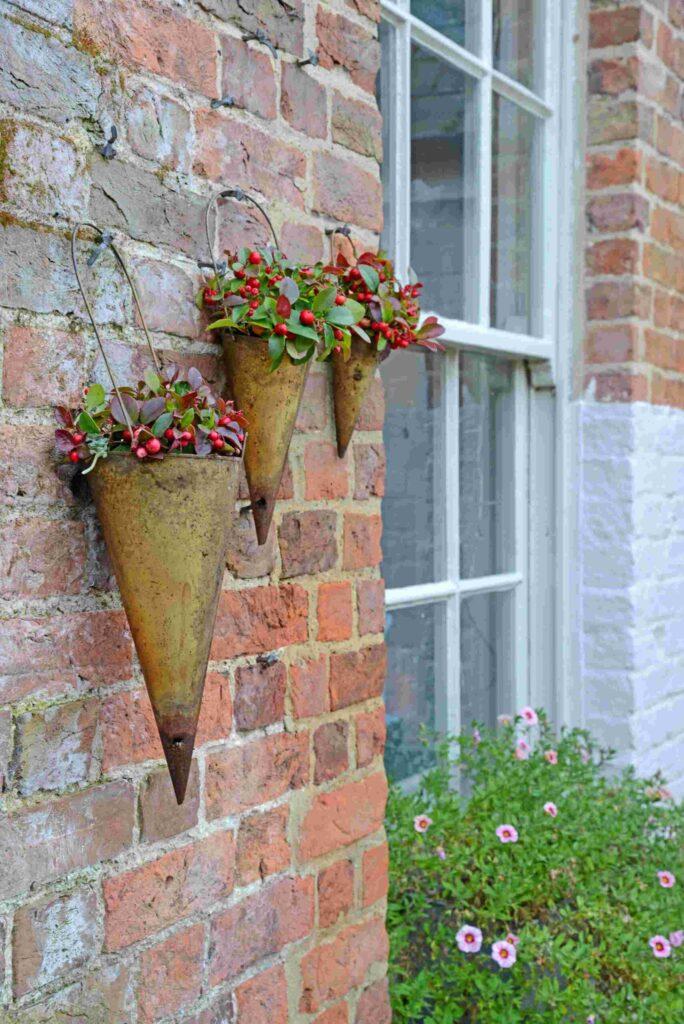 Hornbeam Conical Brass Hanging Planters - Set Of 3