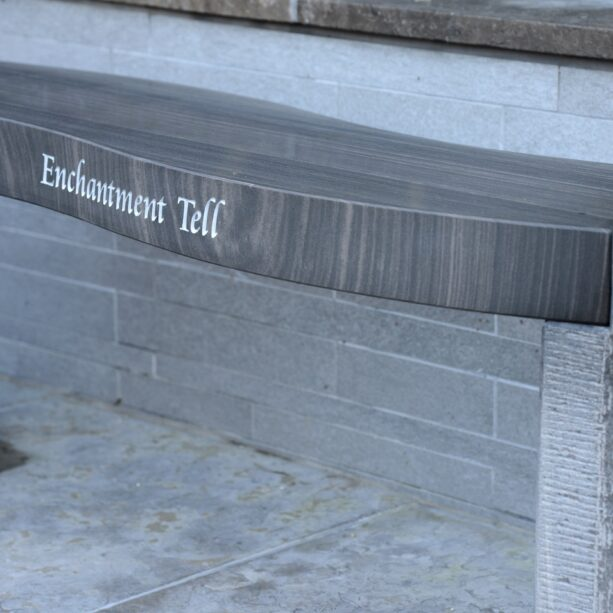 "Jasper ""Enchantment Tell"" Engraved Shark Sandstone Philosophy Bench"