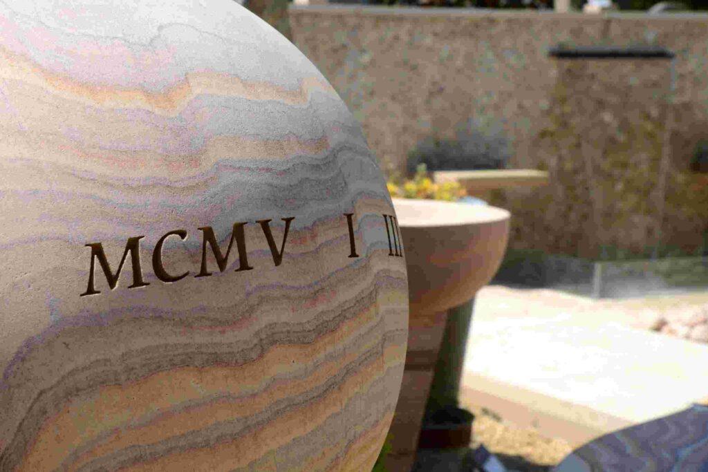 Engraved 40cm Philosophy Sphere - Roman Numerals