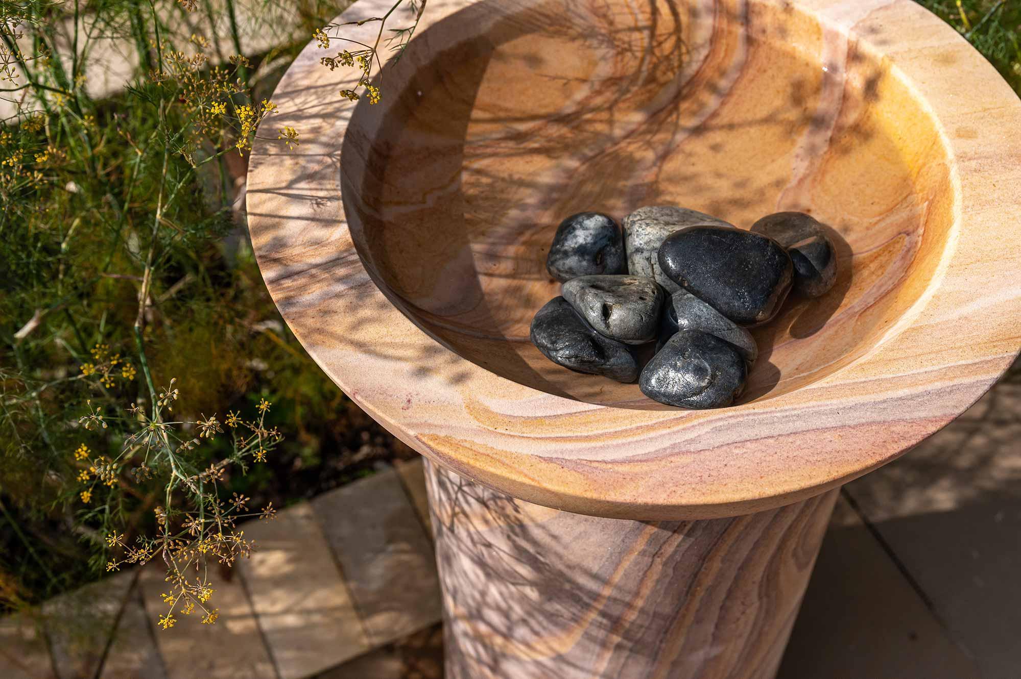pebbles in bird bath