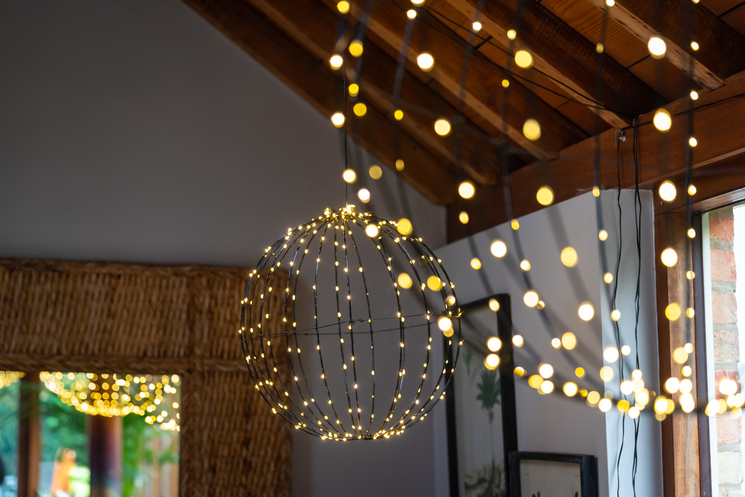 Luna Light Globes hanging from ceiling