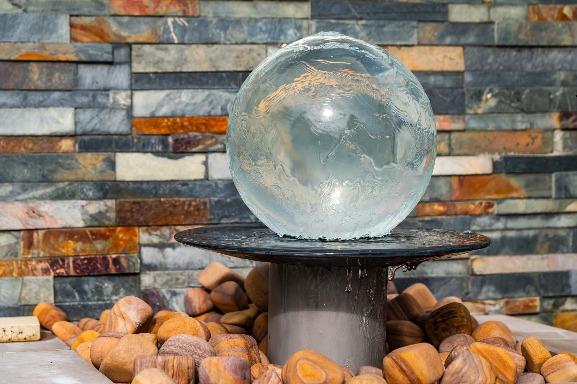 glass garden water feature