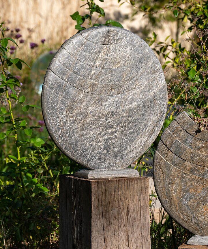 Caviara slate vase on oak plinth