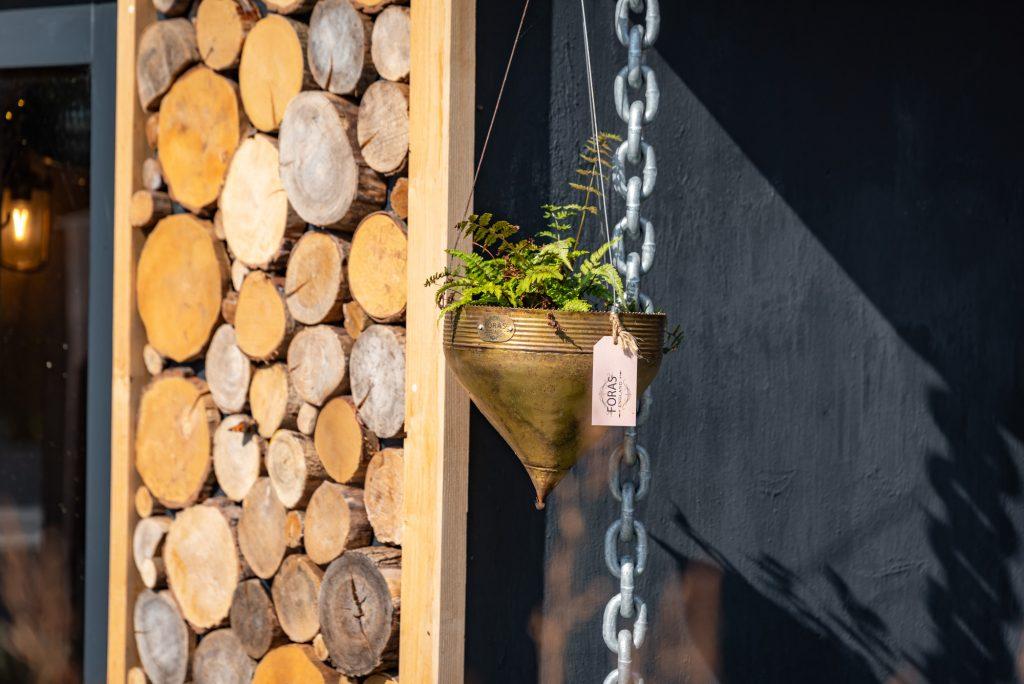 Clover Brass Hanging Planter